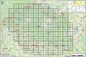mapa pokrytí kvadrátů - zdroj:  Ptáci Krkonoš – atlas hnízdního rozšíření 2012–2014